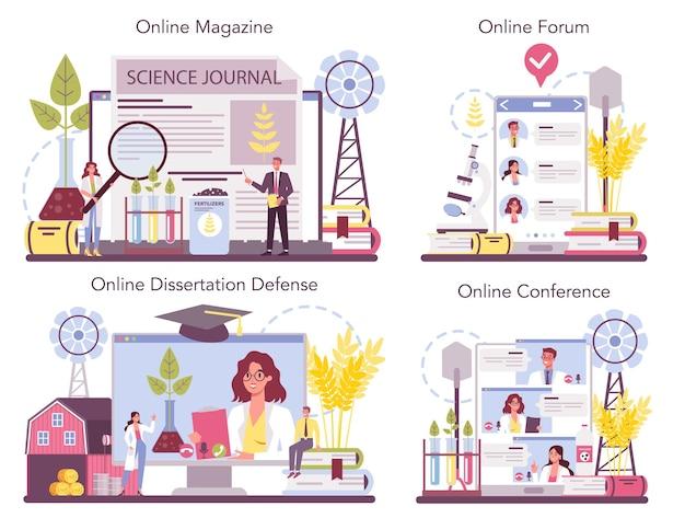 Conjunto de plataforma o servicio en línea de argonomist. científico realizando investigaciones en agricultura.