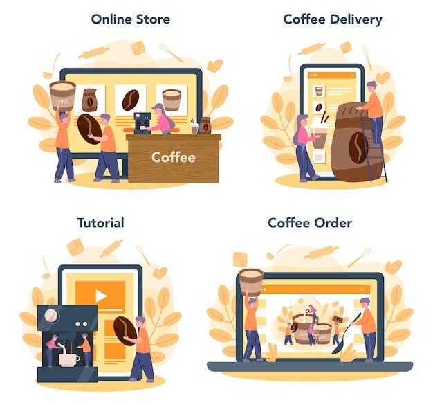 Conjunto de plataforma o servicio en línea de barista