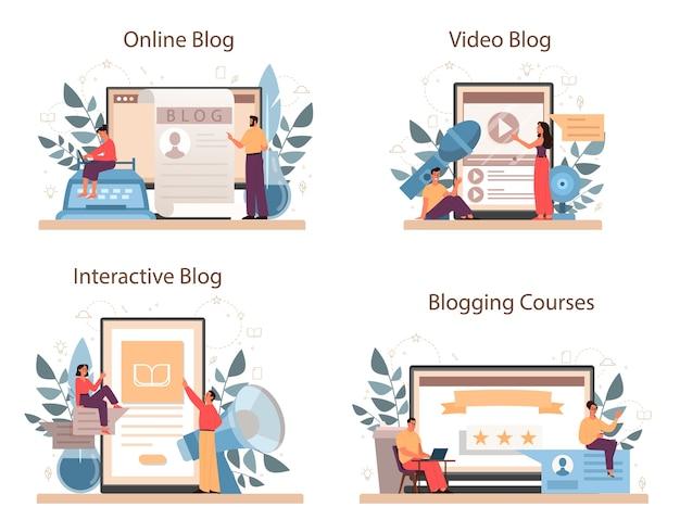 Conjunto de plataforma o servicio en línea de blogger