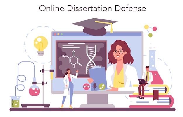 Conjunto de plataforma o servicio en línea de ciencia química. experimento científico en el laboratorio.