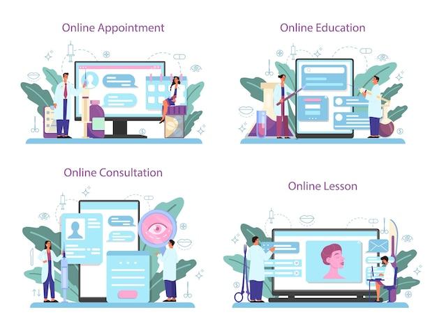 Conjunto de plataforma o servicio en línea de cirujano plástico. idea de corrección corporal y facial. cita en línea, educación, lección, consulta.