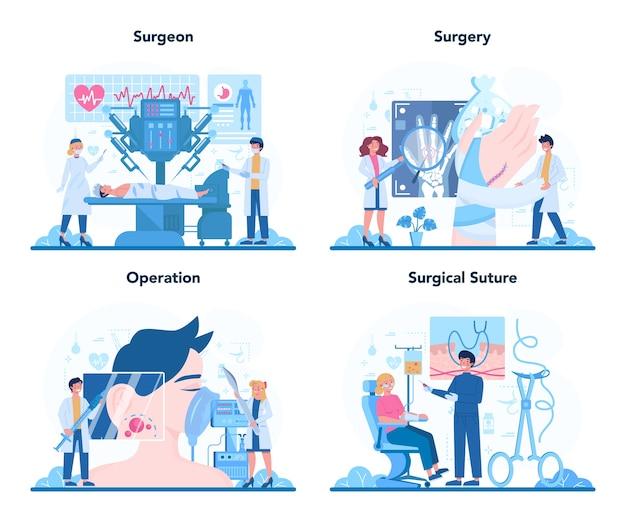 Conjunto de plataforma o servicio en línea de cirujano.