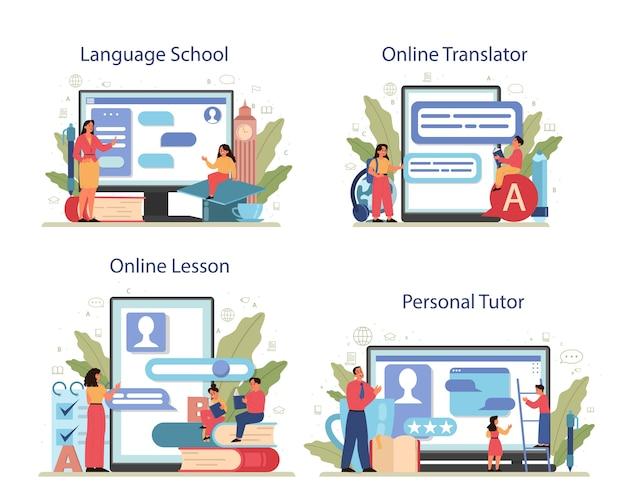 Conjunto de plataforma o servicio en línea de clase de inglés. estudiar idiomas extranjeros en la escuela o la universidad. idea de comunicación global. escuela en línea, tutor personal, lección, traductor.