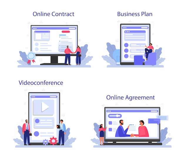 Conjunto de plataforma o servicio en línea de consolidación empresarial