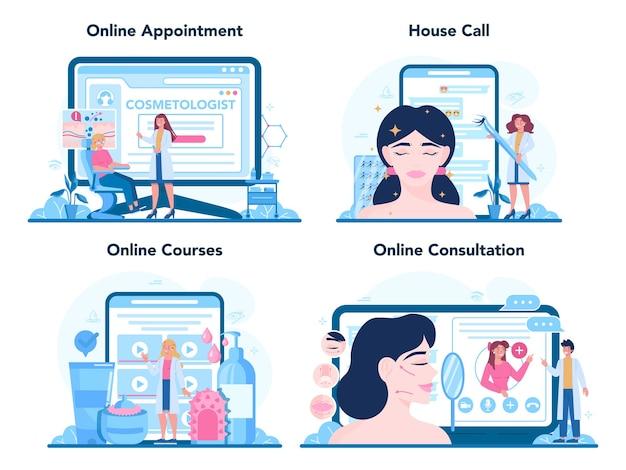 Conjunto de plataforma o servicio en línea de cosmetóloga