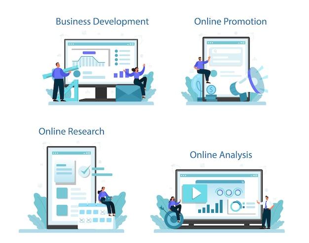 Conjunto de plataforma o servicio en línea de desarrollo de nuevas direcciones comerciales