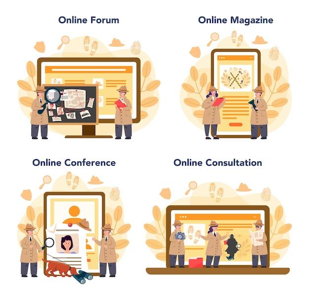 Conjunto de plataforma o servicio en línea de detective profesional
