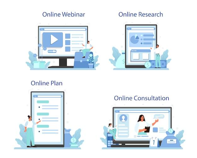 Conjunto de plataforma o servicio en línea de diversificación empresarial