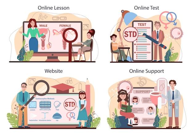 Conjunto de plataforma o servicio en línea de educación sexual. lección de salud sexual