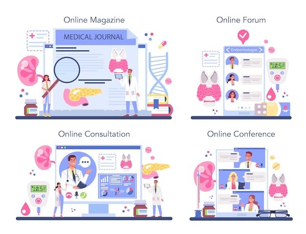 Conjunto de plataforma o servicio en línea de endocrinólogo