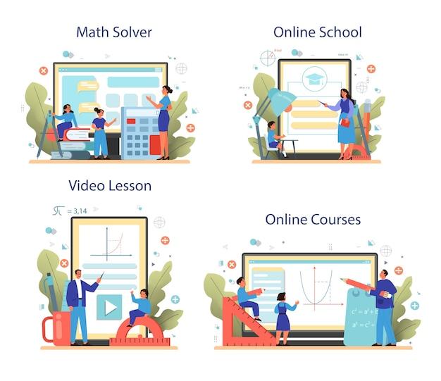Conjunto de plataforma o servicio en línea de la escuela de matemáticas. aprendiendo matemáticas, idea de educación y conocimiento. solucionador de matemáticas en línea, curso, video lección, escuela.