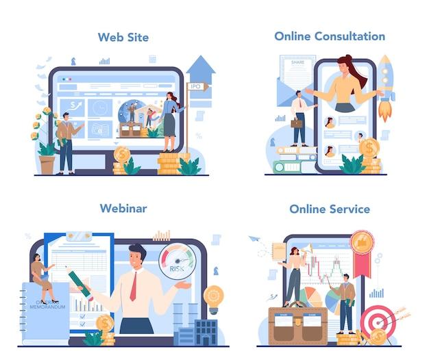 Conjunto de plataforma o servicio en línea especializado en ofertas públicas iniciales