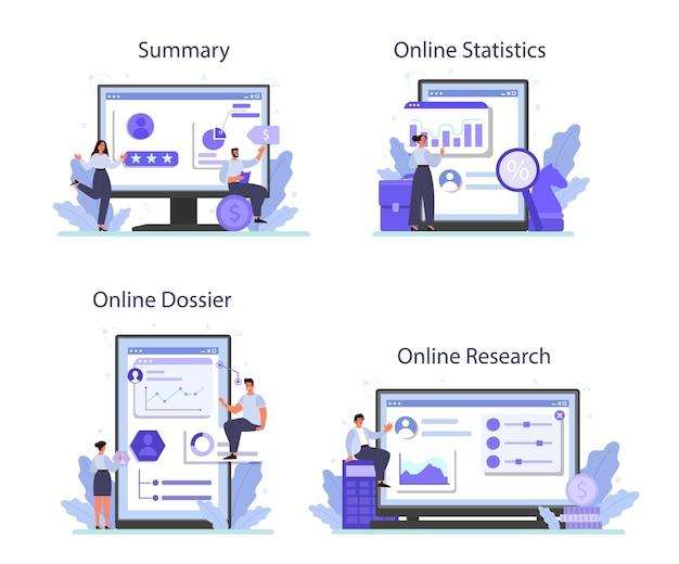 Conjunto de plataforma o servicio en línea de evaluación de empleados