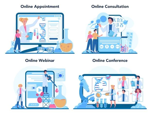 Conjunto de plataforma o servicio en línea de genetista. ciencia, tecnología e innovación.