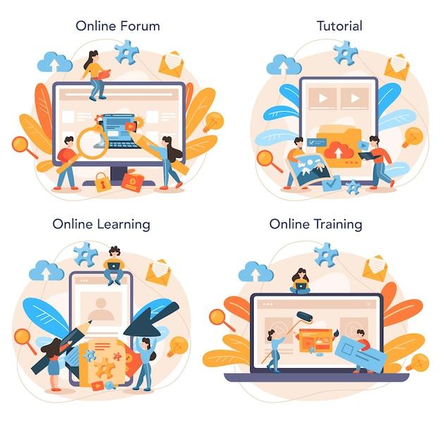 Conjunto de plataforma o servicio en línea de gestión de contenido