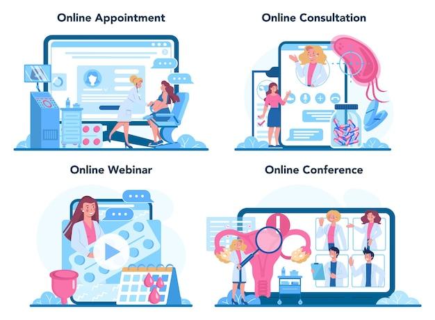 Conjunto de plataforma o servicio en línea de ginecólogo. anatomía humana, ovario y útero.