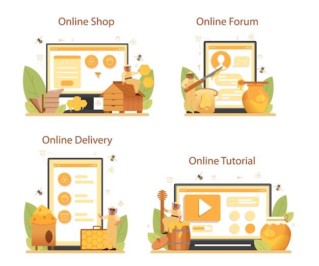 Conjunto de plataforma o servicio en línea de hiver o apicultor.