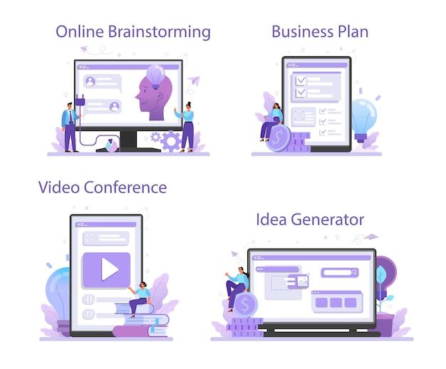 Conjunto de plataforma o servicio en línea de idea