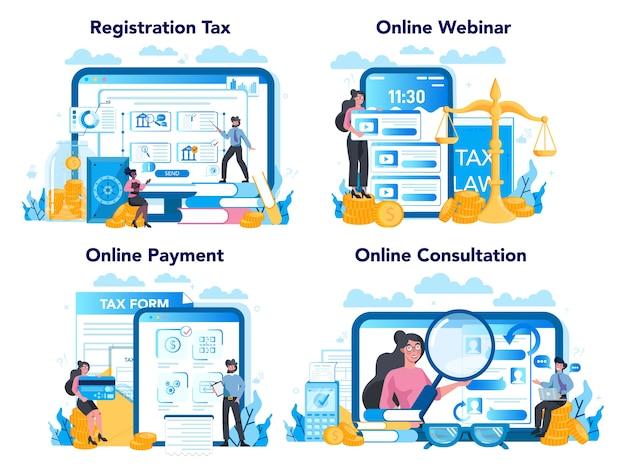 Conjunto de plataforma o servicio en línea de inspector de impuestos