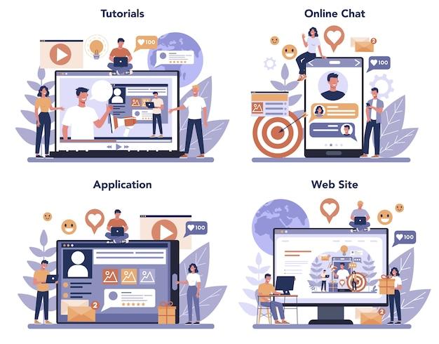 Conjunto de plataforma o servicio en línea de marketing en redes sociales smm