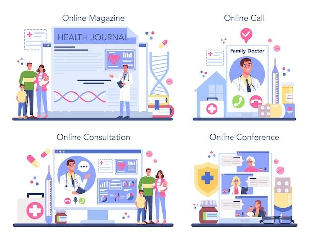 Conjunto de plataforma o servicio en línea de médico de familia