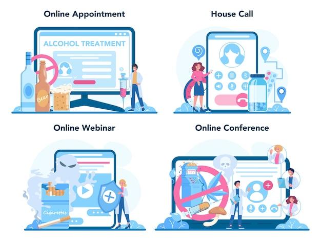 Conjunto de plataforma o servicio en línea de narcólogo. especialista médico profesional.