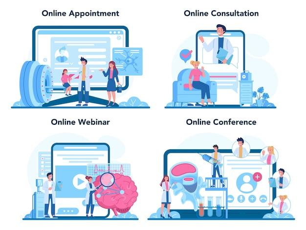 Conjunto de plataforma o servicio en línea de neurólogo.