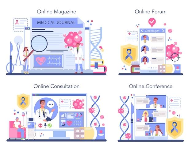 Conjunto de plataforma o servicio en línea de oncólogo profesional.