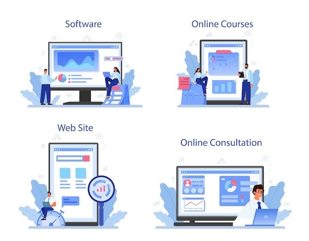 Conjunto de plataforma o servicio en línea de optimización de procesos