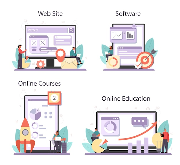 Conjunto de plataforma o servicio en línea de optimizador de seo