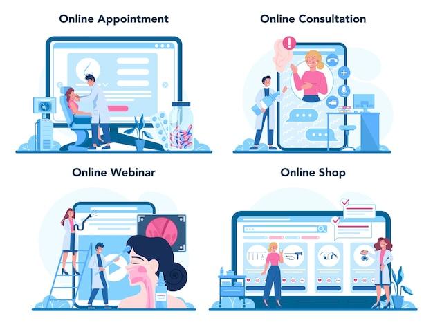 Conjunto de plataforma o servicio en línea de otorrinolaringólogo.