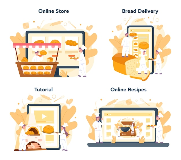 Conjunto de plataforma o servicio en línea de panadería y panadería. chef en el pan de hornear uniforme. proceso de repostería. tienda online, entrega a domicilio, receta o videotutorial.