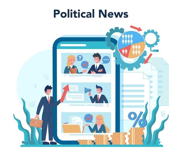 Conjunto de plataforma o servicio en línea de político