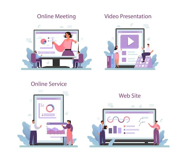 Conjunto de plataforma o servicio en línea de presentación de negocios.