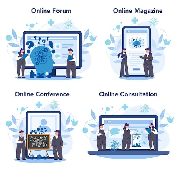 Conjunto de plataforma o servicio en línea de psicólogo profesional