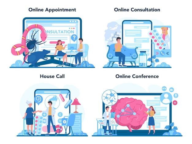 Conjunto de plataforma o servicio en línea de psiquiatra