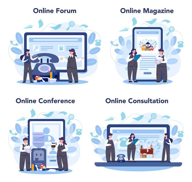 Conjunto de plataforma o servicio en línea de secretaria. recepcionista contestando llamadas y ayudando con el documento. foro en línea, revista, conferencia, consulta.