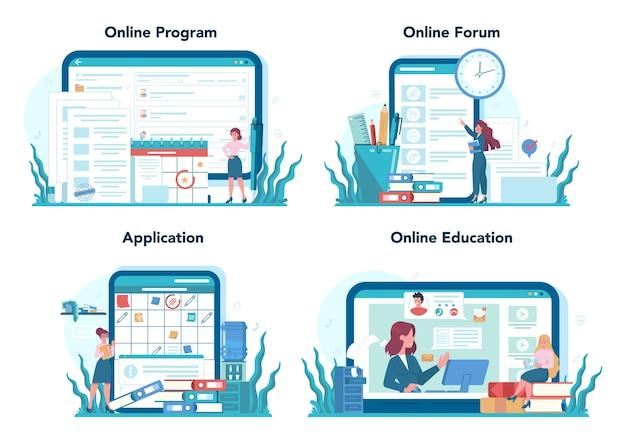 Conjunto de plataforma o servicio en línea de secretaria. recepcionista contestando llamadas y ayudando con el documento. programa en línea, foro, aplicación, educación.