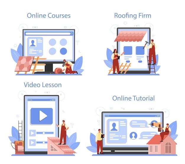 Conjunto de plataforma o servicio en línea de trabajador de construcción de techos