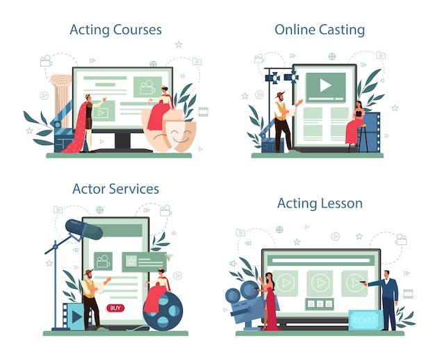 Conjunto de plataforma o servicio online de actor y actriz. idea de creatividad