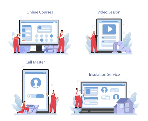 Conjunto de plataforma o servicio online de aislamiento.