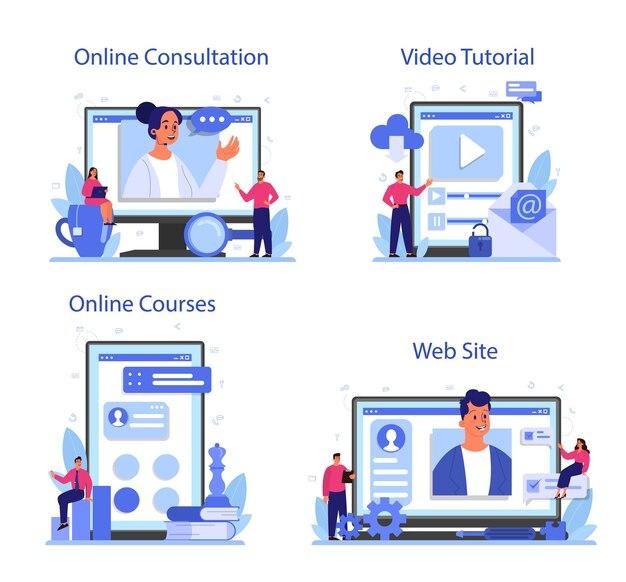Conjunto de plataforma o servicio online de consultoría profesional.