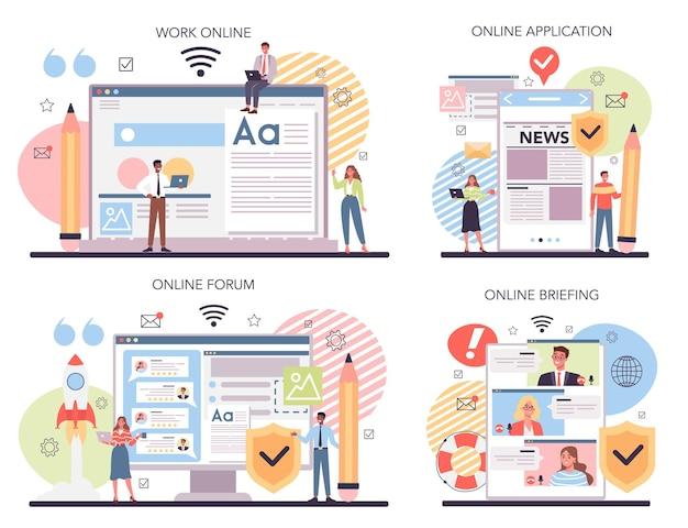 Conjunto de plataforma o servicio online de marketing de contenidos