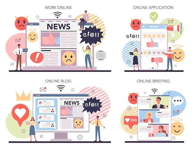 Conjunto de plataforma o servicio online de reputación empresarial