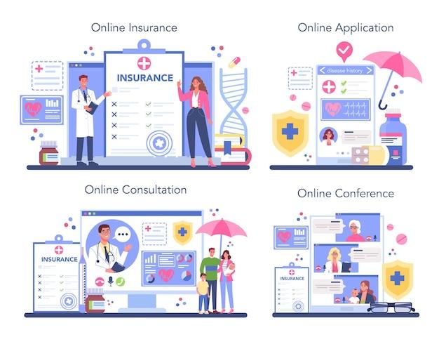 Conjunto de plataforma o servicio online de seguro médico