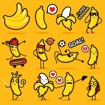 Conjunto de plátano lindo s