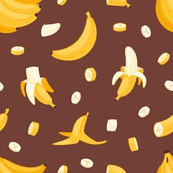 Conjunto de plátanos productos de plátanos panqueque de pan o banana dividida con ilustración de plátano amarillo bananapeel sin fisuras de fondo