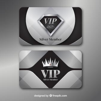 Conjunto plateado de tarjetas vip con estilo moderno