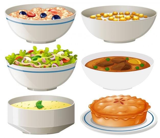 Conjunto de platos diferentes