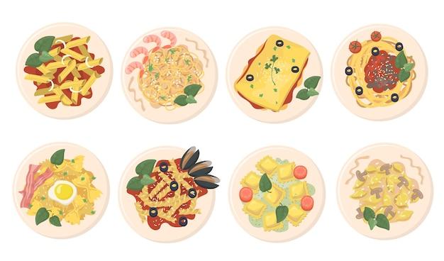 Conjunto de platos de pasta